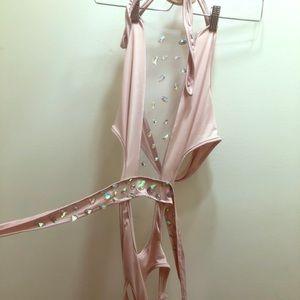 Blush crystal embellished monokini